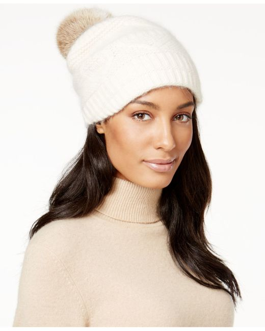 Surell | White Slouchy Knit Rabbit Fur Pom Beanie | Lyst