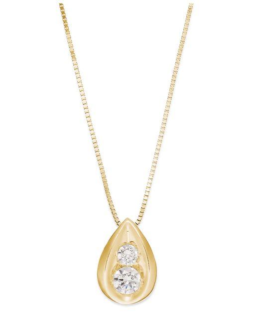 Macy's | Metallic Diamond Teardrop Pendant Necklace In 14k Yellow Or White Gold (1/4 Ct. T.w.) | Lyst