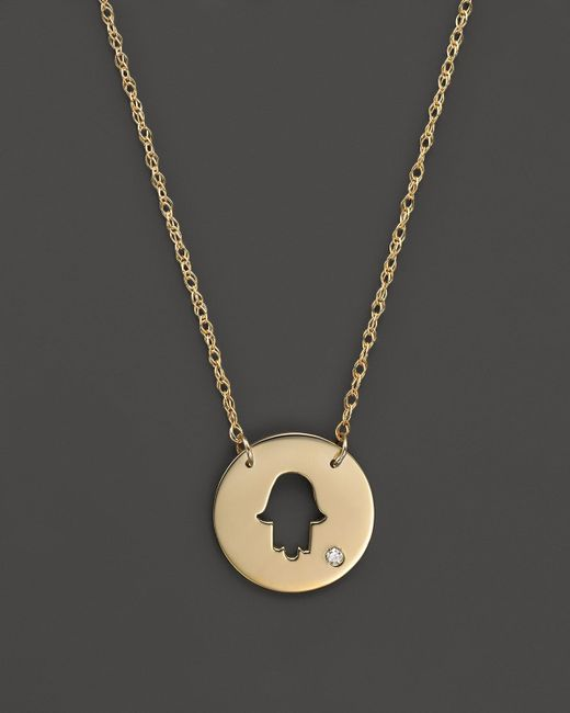 Jane Basch | Metallic 14k Yellow Gold Cut Out Hamsa Disc Pendant Necklace, 16"