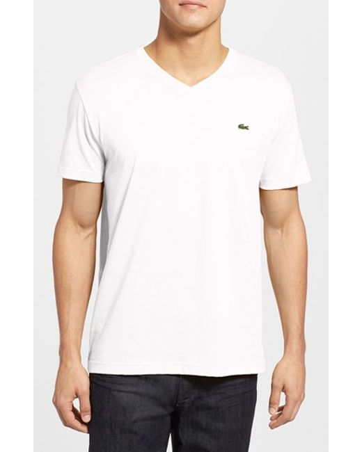 Lacoste | White Pima Cotton Jersey V-neck T-shirt for Men | Lyst