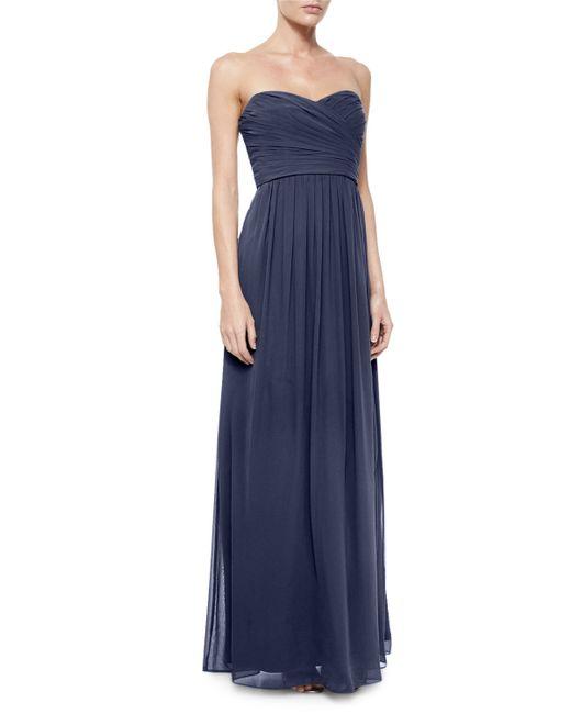 Monique Lhuillier | Blue Strapless Ruched-bodice Gown | Lyst