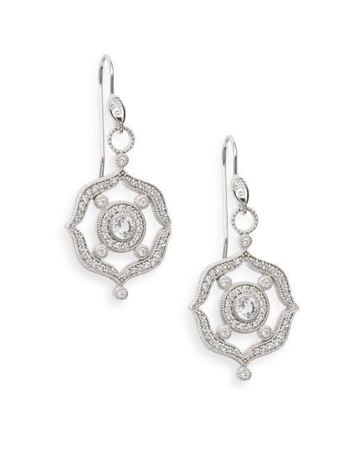 Jude Frances | White Topaz, Diamond & 18k White Gold Openwork Drop Earrings | Lyst