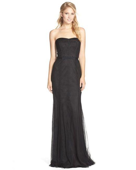 Monique Lhuillier Bridesmaids | Black Strapless Lace & Tulle Gown | Lyst