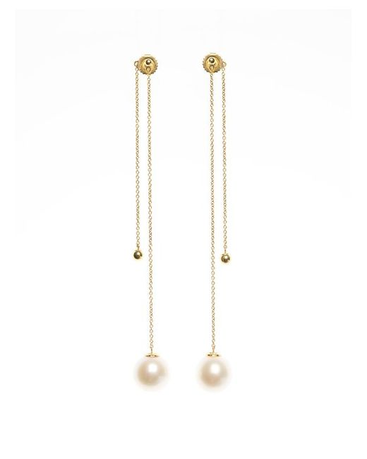 Kacey K Front And Back Pearl Drop Earrings In Gold Lyst