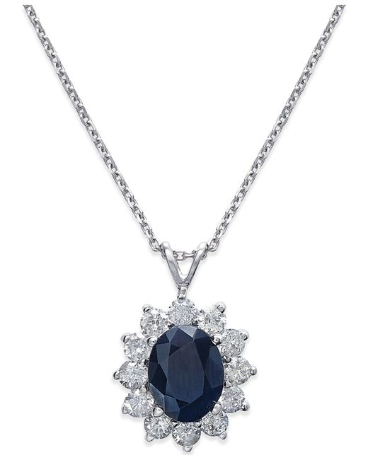 Macy's | Blue Effy Sapphire (1-9/10 Ct. T.W.) And Diamond (1/3 Ct. T.W.) Necklace In 14K White Gold | Lyst