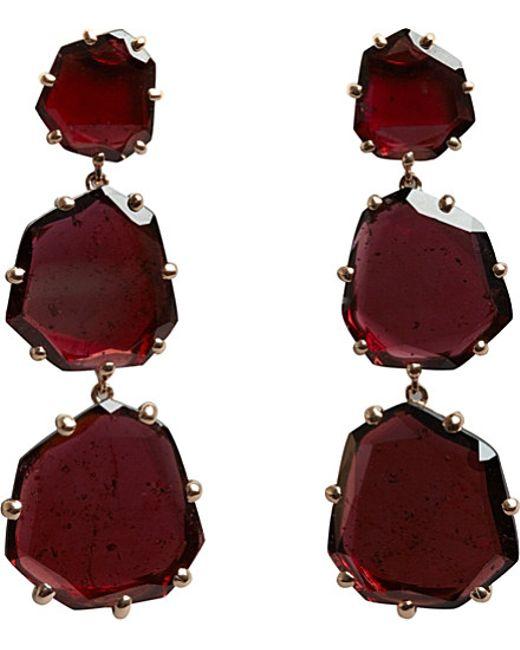 Annoushka | Purple 18ct Rose Gold And Rhodolite Garnet Shard Triple-drop Earrings | Lyst