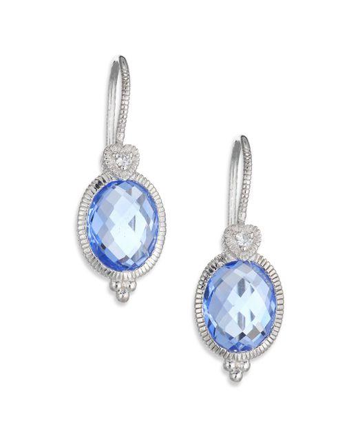 Judith Ripka | La Petite Blue Quartz, White Sapphire & Sterling Silver Oval Drop Earrings | Lyst