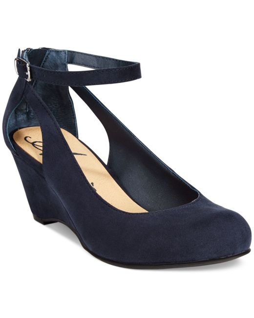 American Rag   Blue Miley Chop Out Wedges   Lyst