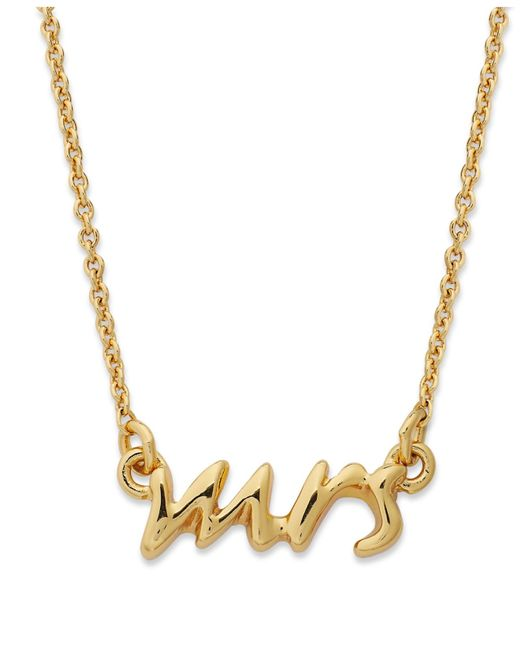 kate spade new york | Metallic Necklace, 12k Gold-plated Say Yes Mrs. Pendant Necklace | Lyst