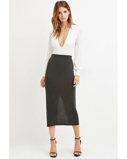 Forever 21 | Gray Contemporary Vented-hem Midi Skirt | Lyst