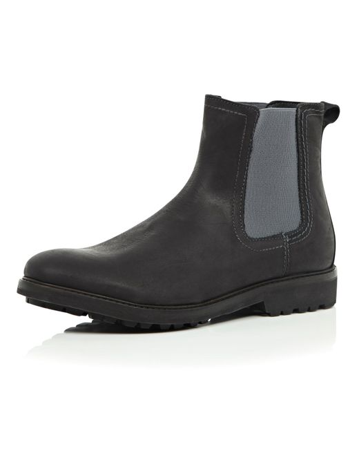 river island black leather cleated sole chelsea boots in