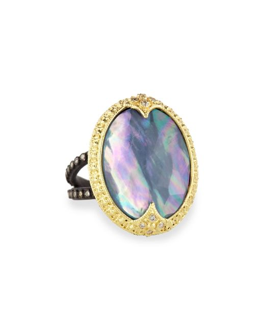 Armenta | Blue Old World Carved Triplet Crivelli Ring With Diamonds | Lyst
