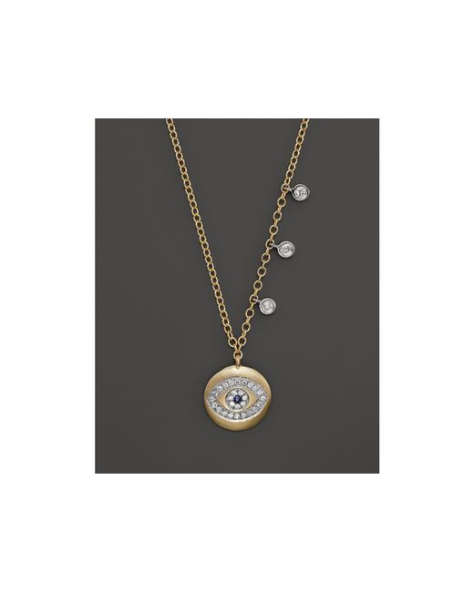 Meira T | Yellow Gold Evil Eye Necklace With Diamond Bezels, 16"
