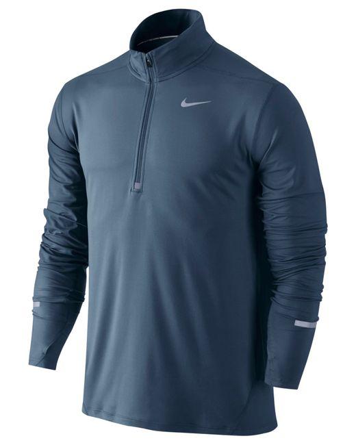 Nike Men 39 S Element Dri Fit Half Zip Running Shirt In Blue