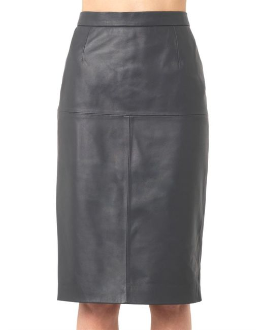 freda charcoal grey leather pencil skirt in gray charcoal