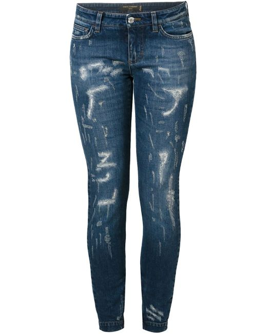 Dolce & Gabbana | Blue Ripped Jeans | Lyst