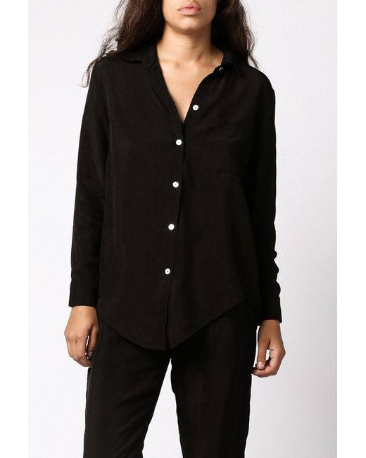 Objects without meaning silk button down shirt in black lyst for Black silk button down shirt