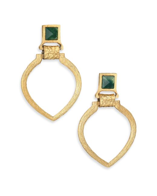 Stephanie Kantis | Metallic Tier Green Moss Agate Doorknocker Earrings | Lyst