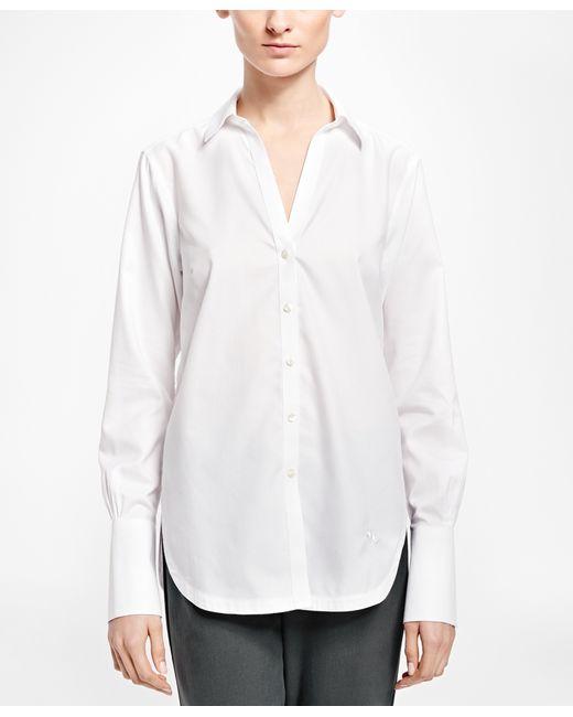 Brooks brothers non iron cotton dobby tunic shirt in white for Brooks brothers non iron shirts review