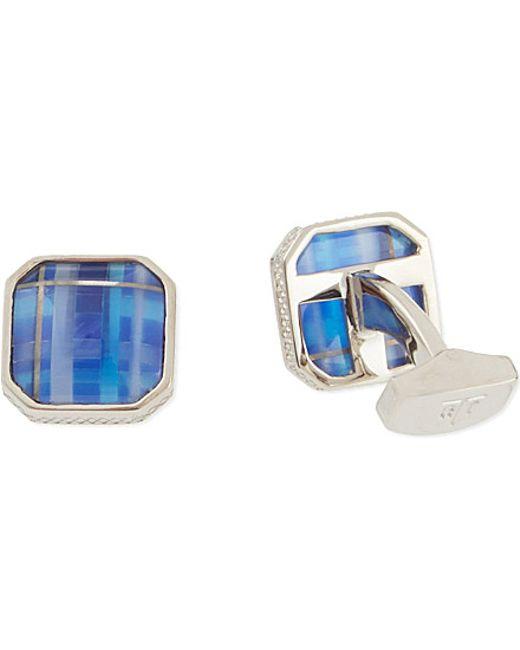 Tateossian | Blue Tartan Fibre Optic Cufflinks  for Men | Lyst
