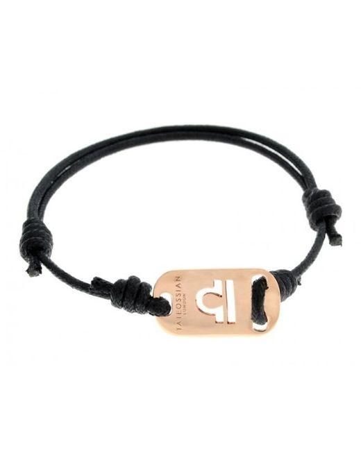 Tateossian | Pink Zodiac 18k Rose Gold Libra Black Waxed Cord Bracelet for Men | Lyst