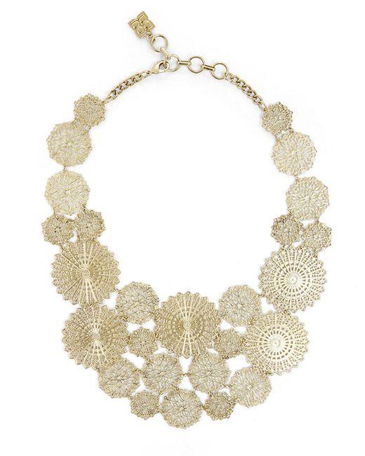 BCBGMAXAZRIA | Metallic Filigree Disc Statement Necklace | Lyst