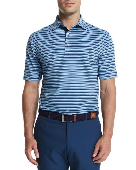 Peter millar galaxy stripe stretch jersey polo shirt in for Peter millar women s golf shirts