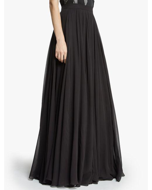 black flowy georgette maxi skirt lyst