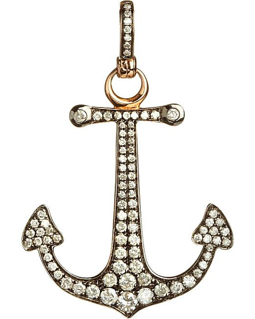 Annoushka | Metallic Mythology 18ct Rose Gold And Diamond Anchor Hope Charm | Lyst