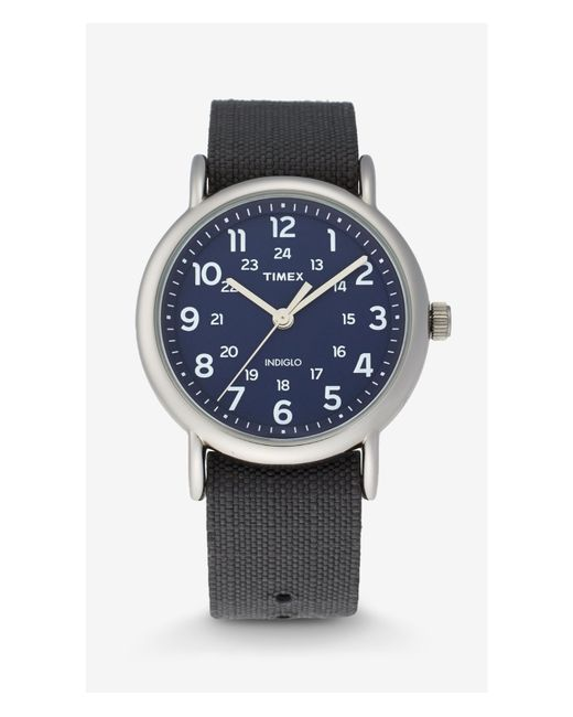 express timex weekender blue and silver in silver
