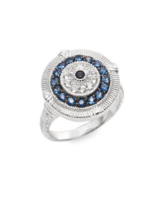 Judith Ripka | Metallic Lucky Blue, White & Black Sapphire Evil Eye Ring | Lyst