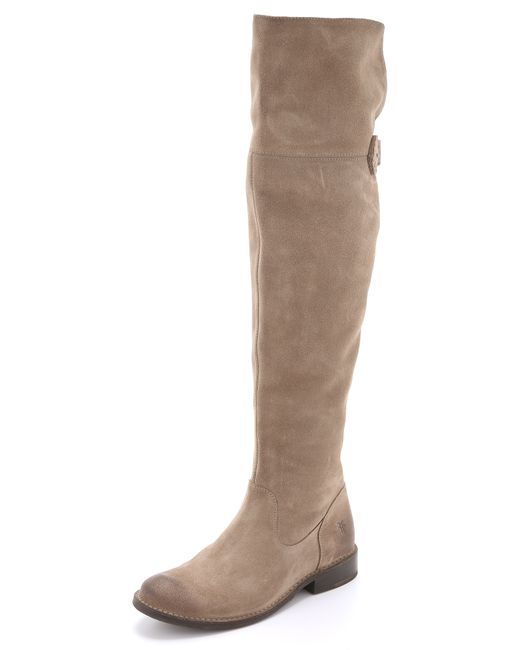 frye shirley suede the knee boots in brown ash lyst