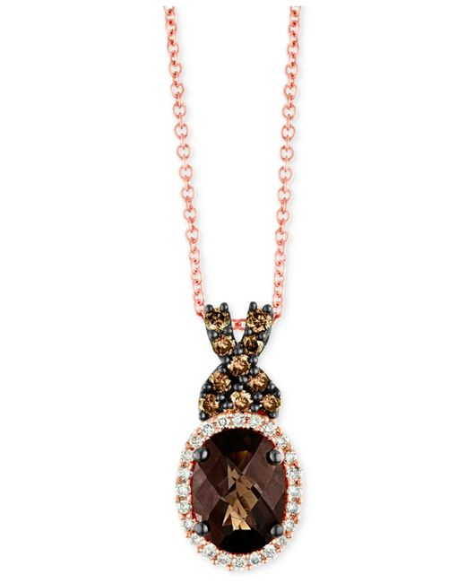 Le Vian | Pink Smoky Quartz (1 Ct. T.w.) And Diamond (1/4 Ct. T.w.) Necklace In 14k Rose Gold | Lyst