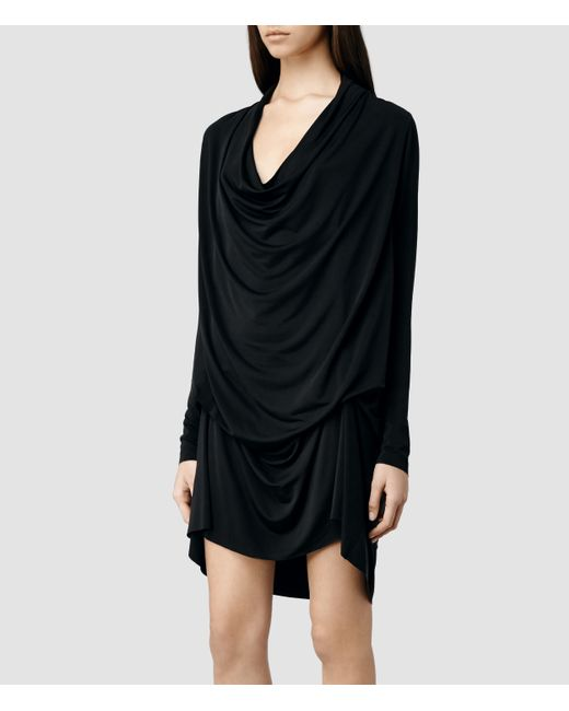 AllSaints | Black Amei Long Sleeved Dress Usa Usa | Lyst