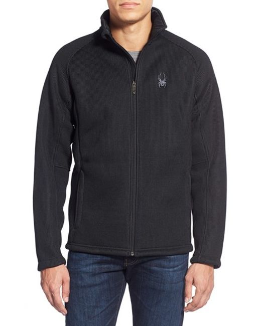 Spyder | Black 'foremost' Zip Front Knit Sweater for Men | Lyst