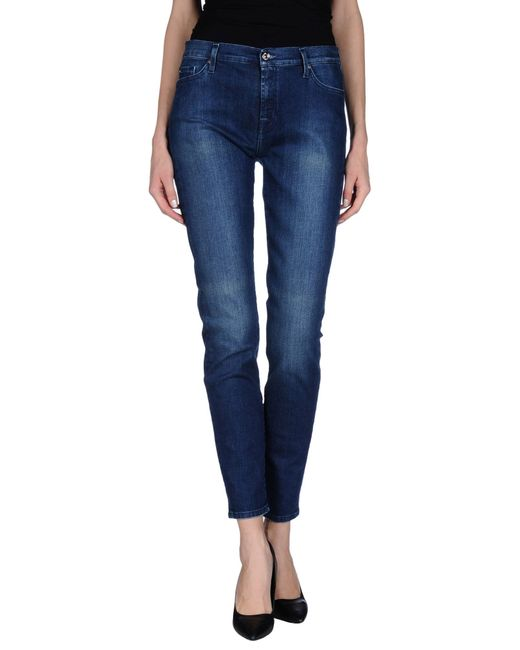 7 For All Mankind   Blue Denim Pants   Lyst