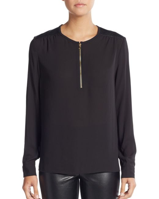 NYDJ | Black Faux-leather Yoked Front-zip Blouse | Lyst