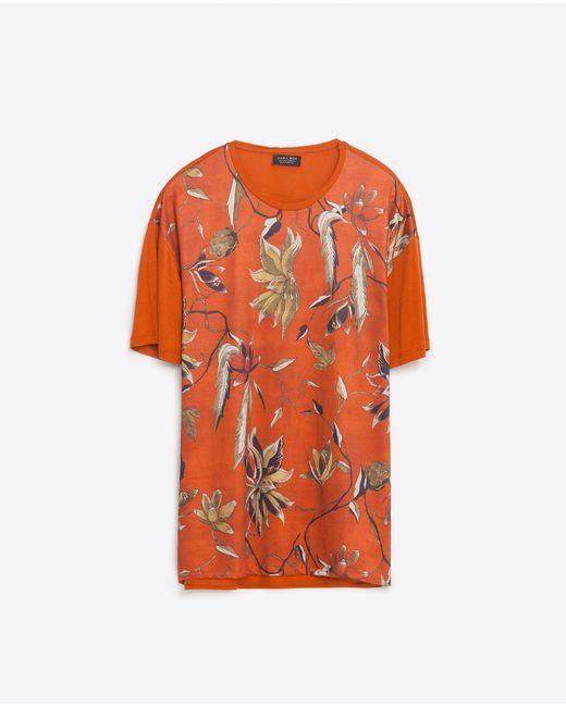 Zara flower print t shirt in floral for men red lyst for Zara mens floral shirt