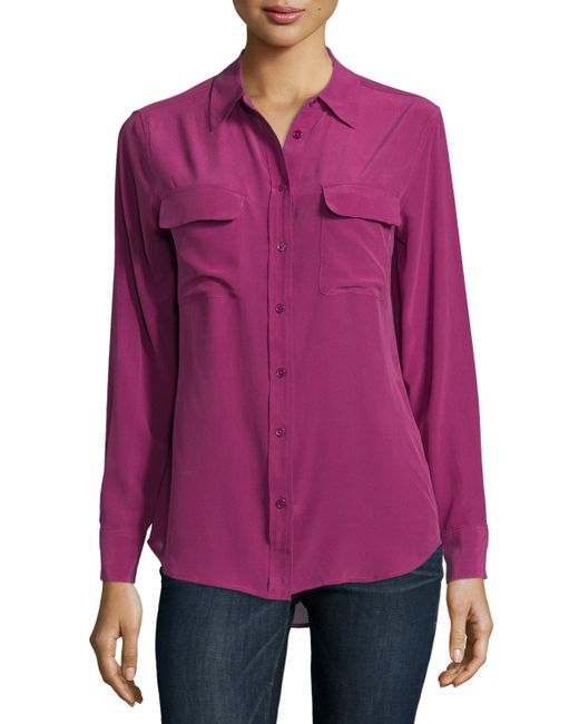 equipment slim signature long sleeve silk shirt in purple