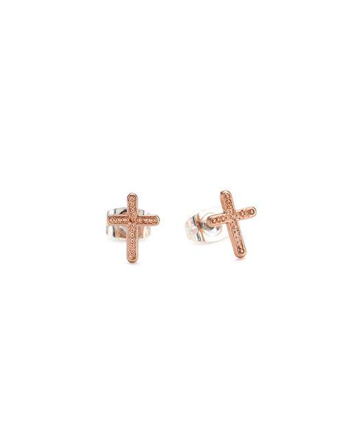 Bing Bang | Pink Vivienne Cross Studs | Lyst