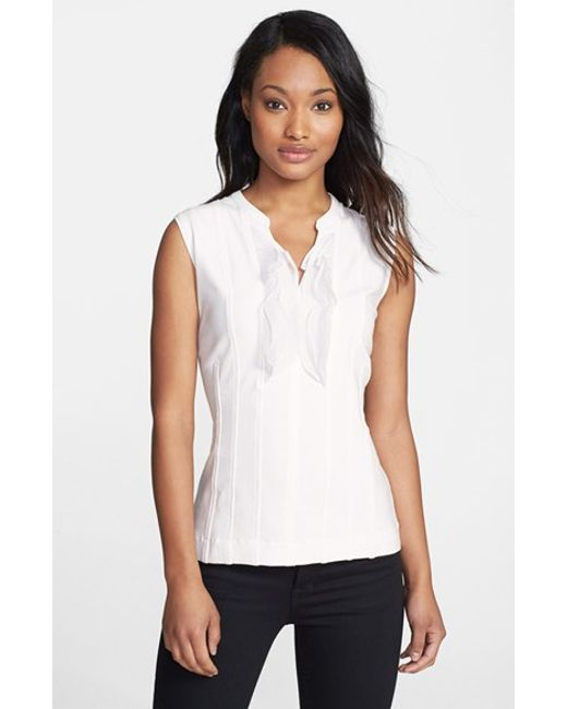 NIC+ZOE | White Ruffle Trim Top | Lyst