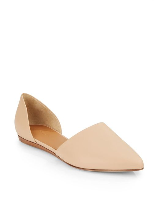 VINCE   Natural Nina Leather Flats   Lyst