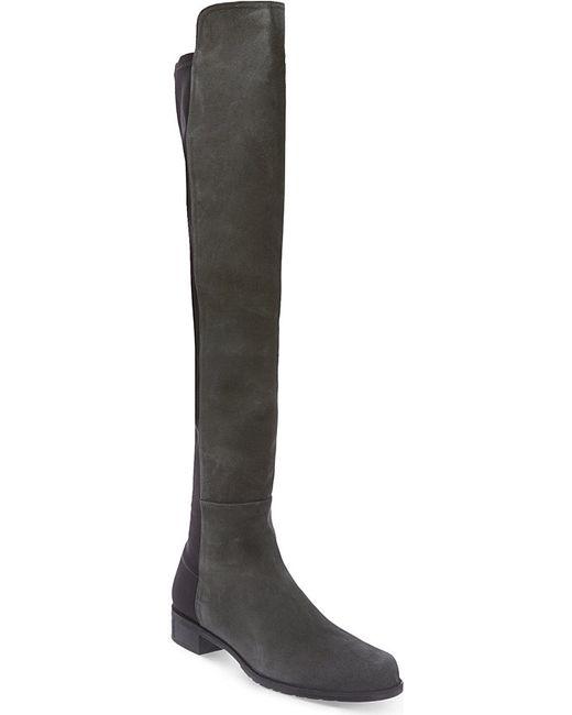 stuart weitzman 50 50 suede knee high boots in black lyst
