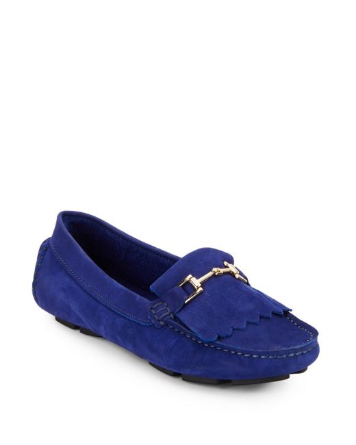 Saks Fifth Avenue | Blue Kiltey Suede Loafers | Lyst