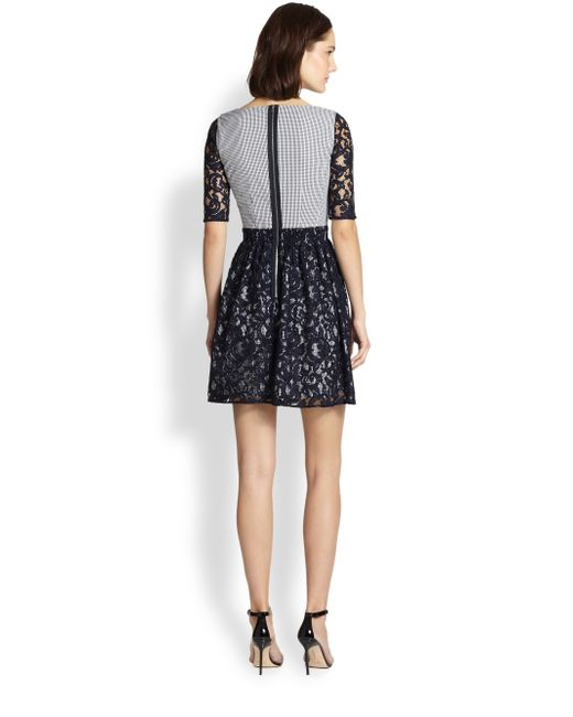 Carven lace overlay gingham dress
