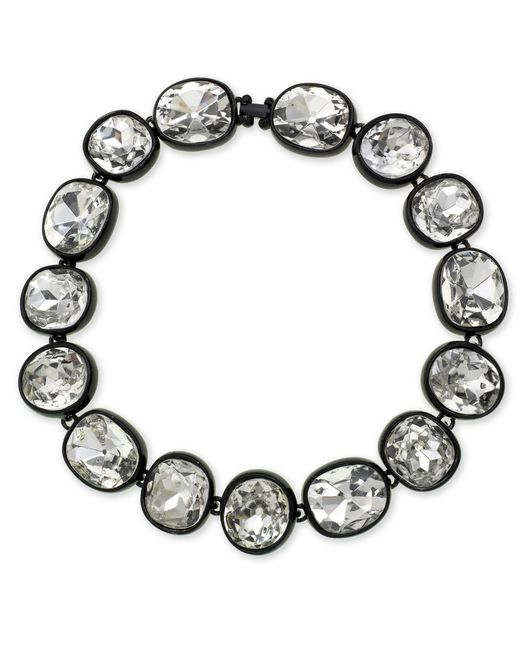 Kenneth Jay Lane | Metallic Black Plated Crystal Necklace | Lyst