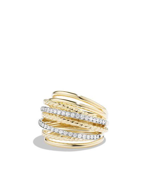 david yurman x crossover dome ring with diamonds in 18k
