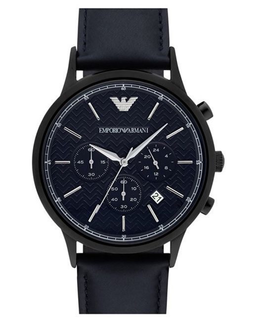 Emporio Armani | Blue Chronograph Leather Strap Watch for Men | Lyst