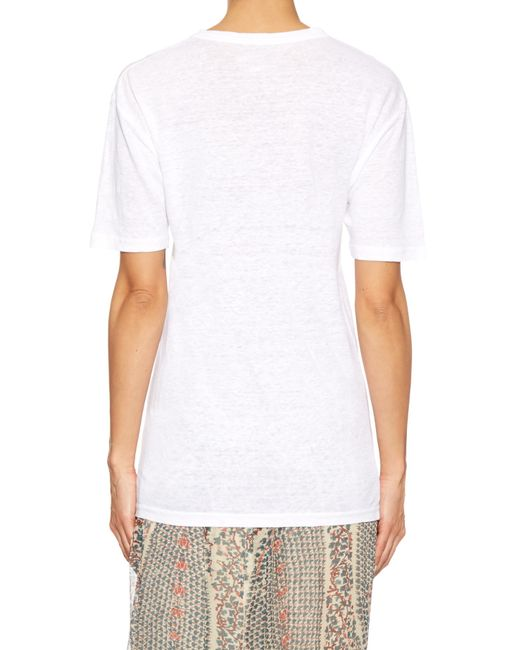 Toile isabel marant keiran round neck linen t shirt in for Isabel marant t shirt sale