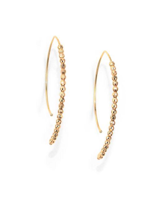 Mizuki | Metallic Core 14k Yellow Gold Beaded Marquee Drop Earrings | Lyst